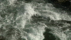White water mountain river rapids liquid flowing frothing spray and foam clos Stock Footage