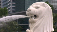 Stock Video Footage of singapore merlion lion  fountain cu