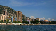Larvotto Monaco Skyline Time lapse Larvotto Sandy Beach, Sporting Monte-Carlo Stock Footage