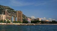 Larvotto Monaco Skyline Time lapse Larvotto Sandy Beach, Sporting Monte-Carlo Stock Footage