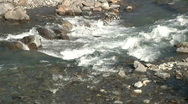 Stock Video Footage of rocky river stream white green water liquid flows moving background