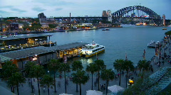 Circular Quay, Sydney Harbour Bridge Time Lapse - Night Falling Stock Footage