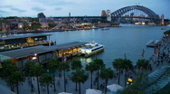 Stock Video Footage of Circular Quay, Sydney Harbour Bridge Time Lapse - Night Falling