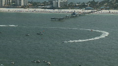 Aerial Clearwater Super Boat 1st Race Pier 60 Stock Footage