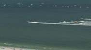 Stock Video Footage of Aerial Clearwater Super Boat 1st Race Start