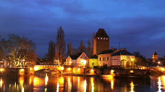 Strasbourg Skyline Time lapse Petite France, Covered bridges, Ill River, Dusk - stock footage