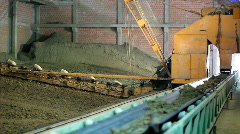 Excavators and Dredge digging clay Stock Footage