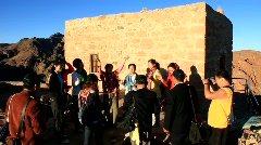 Pilgrims from China. Invocatory prayer. Moses Mountain. Sinai Peninsula. Egypt Stock Footage