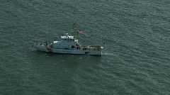 Aerial US Coast Guard Cutter - stock footage