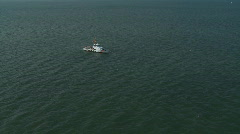 Aerial Clearwater Super Boat Coast Guard Zoom - stock footage