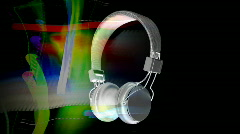 Headphone music dj vintage retro party audio sound earphones Stock Footage