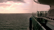 People Looking at the Sunset off the Side of a Cruise Ship in the Bahamas 1 Stock Footage