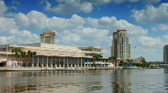 Tampa Convention center on sunny afternoon Stock Footage