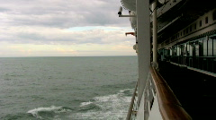 Looking Off the Deck of a Giant Cruize Ship on the Ocean 1 Stock Footage