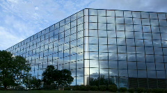 Stock Video Footage of Cloudy Reflections in Office Building Timelapse