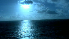Awesome View of the Sun Hovering Over The Ocean Water 1 Stock Footage