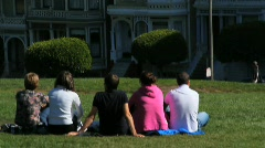 Young Adults in Alamo Square Stock Footage