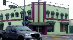 Art Deco Green and Purple Store Building Stock Footage