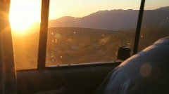 Road Trip in a Van at Sunset Stock Footage