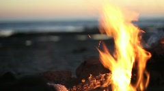 Fire at beach Stock Footage