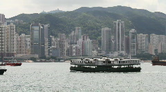 Ship crossing the victoria harbour Stock Footage