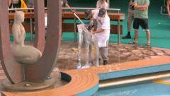 A Man Carves An Ice Sculpture On A Cruise Ship 2 Stock Footage