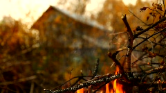 Stock Video Footage The house behind a fire Stock Footage