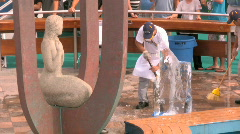 A Man Carves an Ice Sculpture on a Cruise Ship 3 Stock Footage