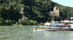 Cruise ship travelling on the Rhine - stock footage