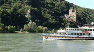 Cruise ship travelling on the Rhine Stock Footage