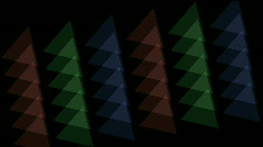 Tangram,color papers,plastic card,triangle background,mosaics.Chemistry,geometry Stock Footage