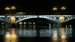 Triana bridge by night Stock Footage