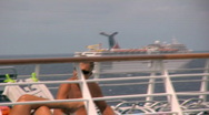Two Cruise Ships Racing in the Ocean Stock Footage
