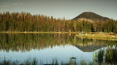 Landscape with mountain reflection in lake Stock Footage