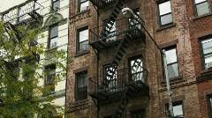 Exterior of brick apartment building Stock Footage