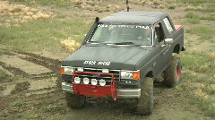 truck approaches camera head on 4x4 bronco boulder audio - stock footage