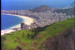 Copacabana Beach from Sugar Loaf mountain, classic view, Rio de Janeiro Stock Footage