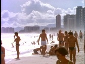 Stock Video Footage of Rio de Janeiro beach, skyline, backlighting, beach, sea, people, hotels