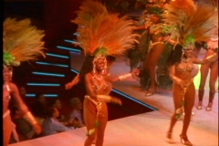 Rio de Janeiro Samba Show, very colorful costumes, beautiful people, lavish Stock Footage
