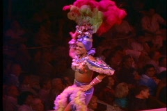 Rio de Janeiro Samba Show, colorful costumes, Carman Miranda costume Stock Footage