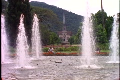 Petropolis, Brazil, wide shot, fountain and cathedral in background Stock Footage