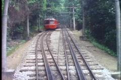 Rio de Janeiro, Corcovado cog train, POV of train steep hill, descending train - stock footage