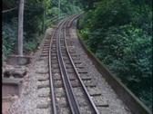 Rio de Janeiro, Corcovado cog train, POV of train up steep hill with tracks Stock Footage