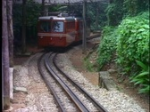 Rio de Janeiro, Corcovado cog train, train passes by up hill Stock Footage