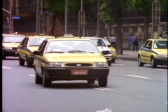 Rio de Janeiro downtown, business district, taxis passing - stock footage