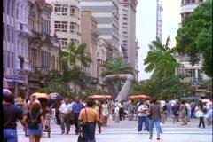 Rio de Janeiro downtown business district, crowd, modern sculpture - stock footage