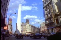 Buenos Aires, Argentina, obelisk, traffic, wide shot, Plaza de la República Stock Footage
