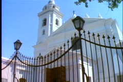 Recoleta Cemetery, church and iron fence, tilt up, Buenos Aires, Argentina Stock Footage