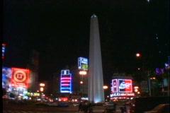 Buenos Aires by night, Argentina, obelisk, traffic, Plaza de la República Stock Footage