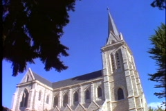 Bariloche, Argentina stone church, side view Stock Footage